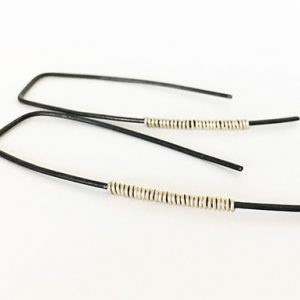 Black and Silver Minimalist Earrings