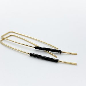 Gold Black Threader Earrings